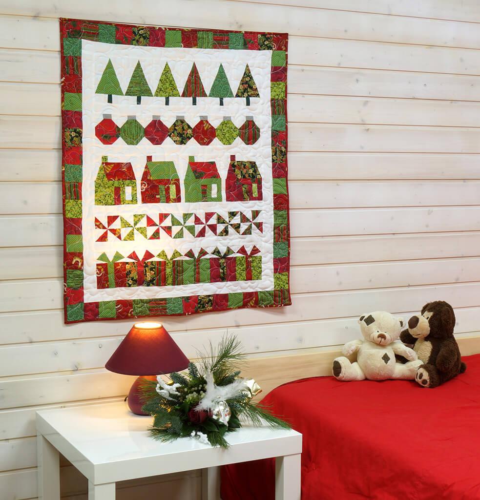 karácsonyi színek, nappali fal,
